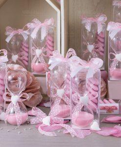 bomboniera clessidra sabbia rosa gessetto cuore scatola trasparente e confetti rosa