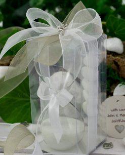bomboniera clessidra vetro con fiocco bianco scatola pvc e nastri con ciondolo cuore argentato