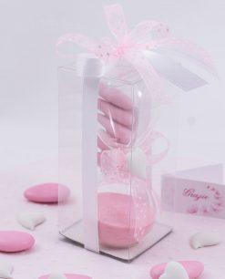 bomboniera clessidra vetro con sabbia rosa gessetto cuore e scatola trasparente