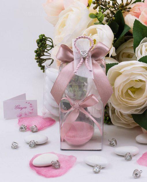 bomboniera clessidra vetro con sabbia rosa scatola trasparente e ciondolo cuore