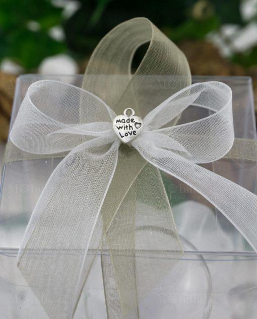 bomboniera clessidra vetro con scatola pvc nastri organza e ciondolo cuore made with love