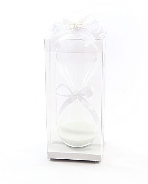 bomboniera clessidra vetro media bianca ad bomboniere