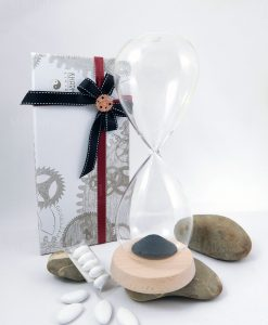 bomboniera clessidra vetro piccola tubicino confetti karma living