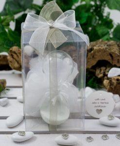 bomboniera clessidra vetro sabbia bianca ad emozioni con sacchetto bianco scatola pvc e nastri organza con ciondolo
