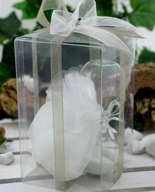 bomboniera clessidra vetro sabbia bianca con scatola pvc sacchettino e nastri organza