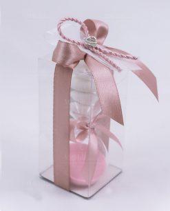 bomboniera clessidra vetro sabbia rosa con scatola trasparente