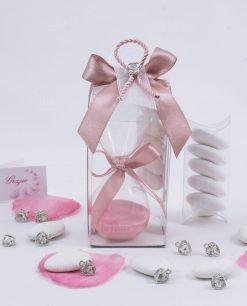 bomboniera clessidra vetro sabbia rosa con scatola trasparente e ciondolo cuore