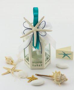 bomboniera lanterna bianca fiocco bianco e tiffany e stella marina