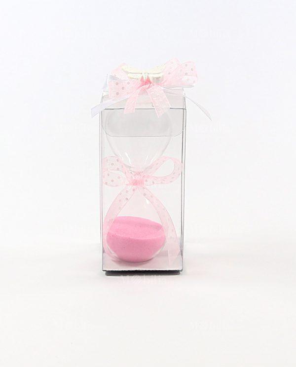 bomboniera clessidra sabbia rosa con scatola pvc e gessetto farfalla