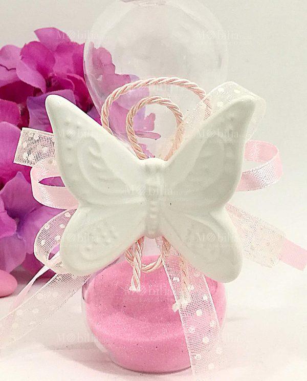 clessidra sabbia rosa confezionata con magnete farfalla bianca