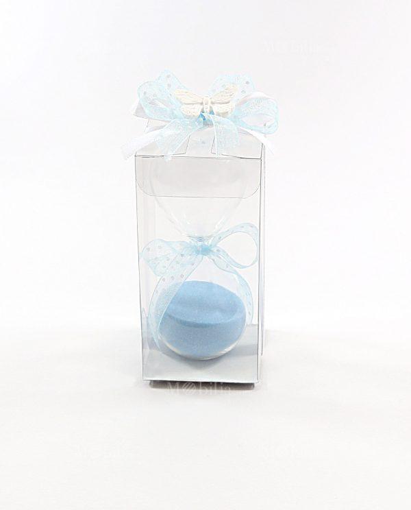 bomboniera clessidra sabbia azzurra con scatola pvc e gessetto farfalla