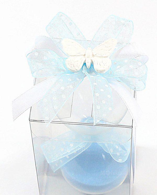 bomboniera clessidra vetro con sabbia azzurra confezionata con scatola pvc e nastri