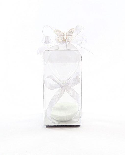 bomboniere clessidra in vetro piccola bianca