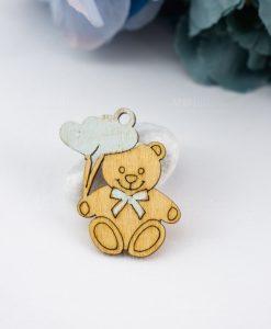 ciondolo legno orsetto con palloncini cuore