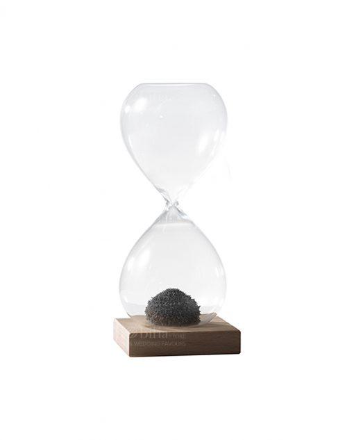 clessidra in vetro soffiato con sabbia magnetica piccola per bomboniere