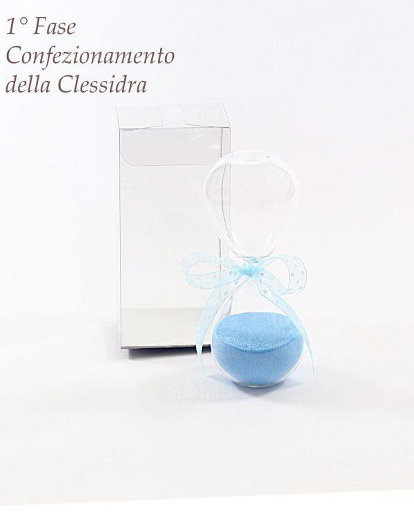 Bomboniere Battesimo Maschietto Clessidra Piccola con Farfalla