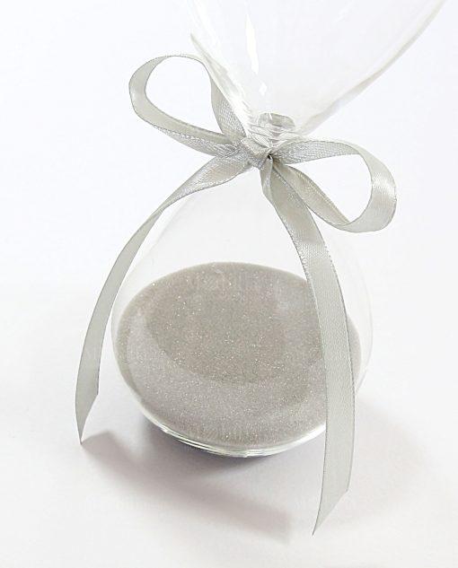 clessidra sabbia grigia con fiocco