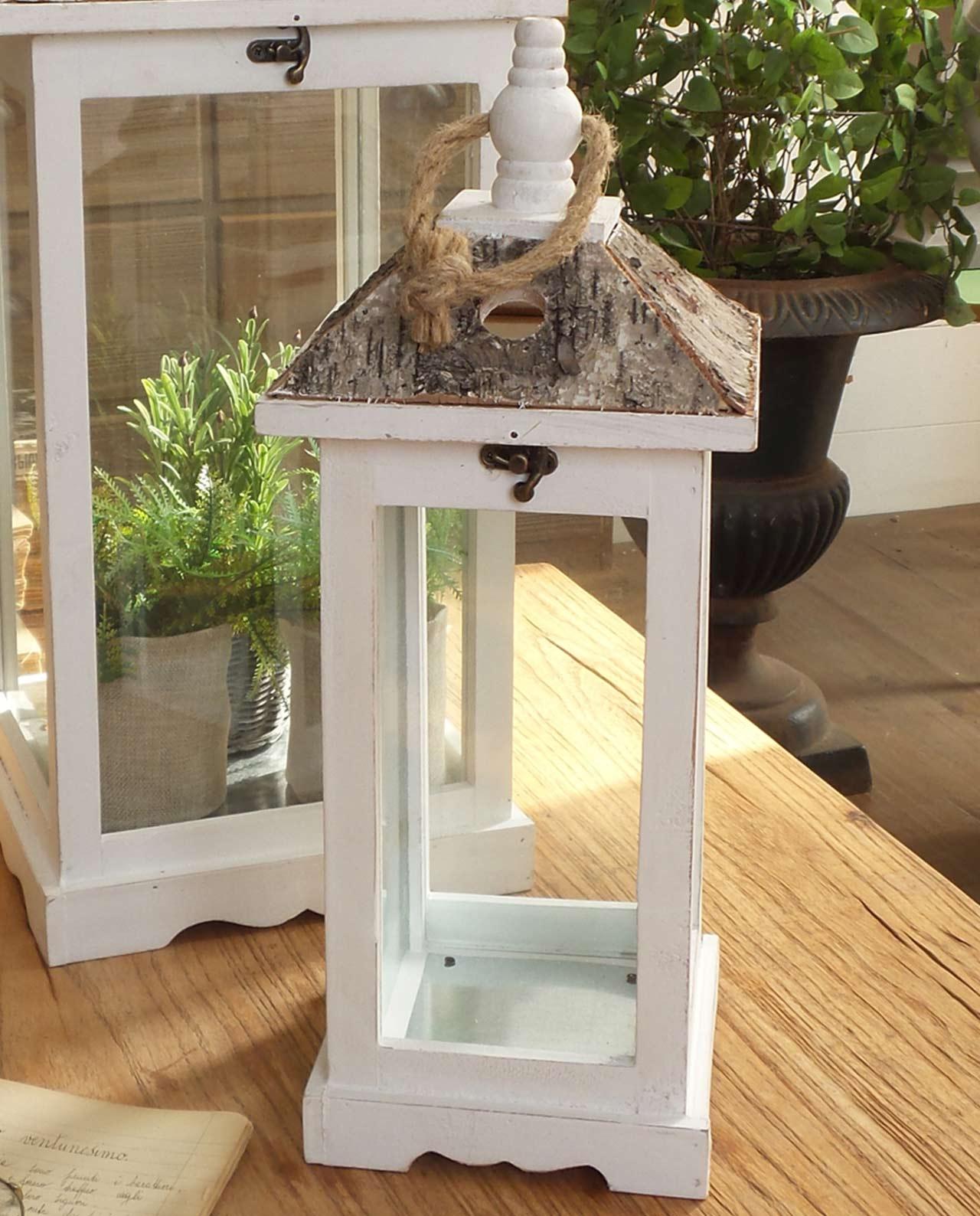 set lanterne portacandele legno bianco e corteccia