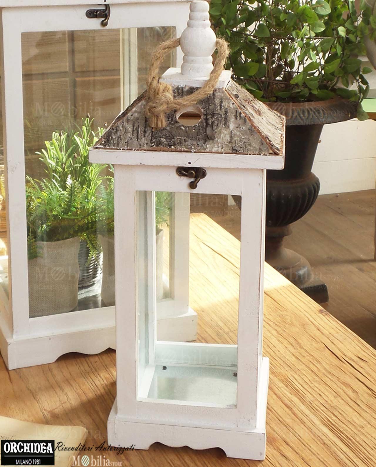 lanterne portacandele set 2 pezzi legno bianco e corteccia