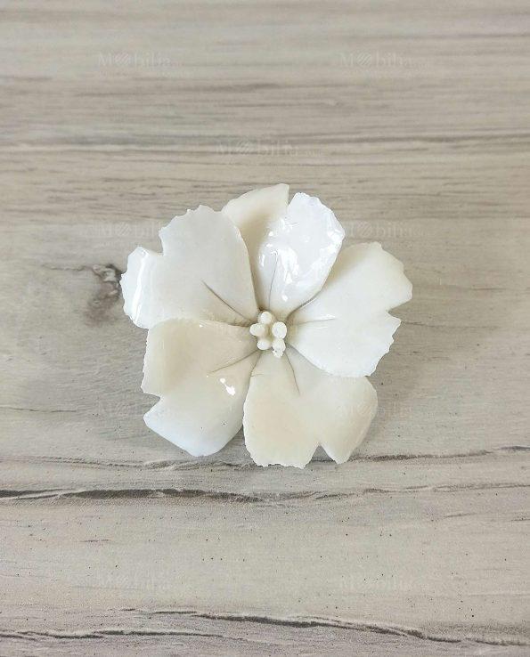 Magnolia Fiore Porcellana Bianca o Rosa Bomboniera con Magnete