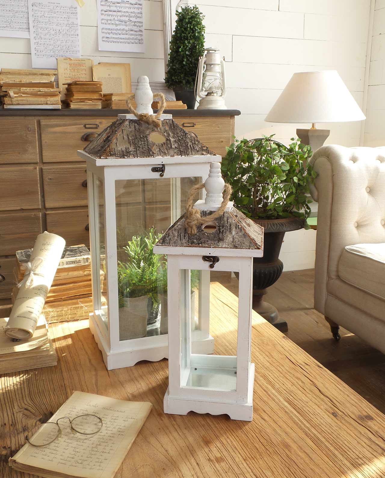 Set lanterne portacandele legno bianco e corteccia - Portacandele fai da te ...