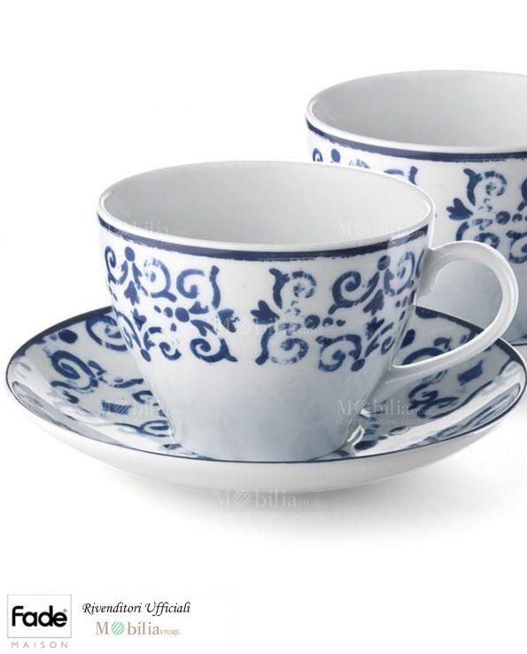 Set 2 Tazze Colazione Porcellana Antico Blu Fade