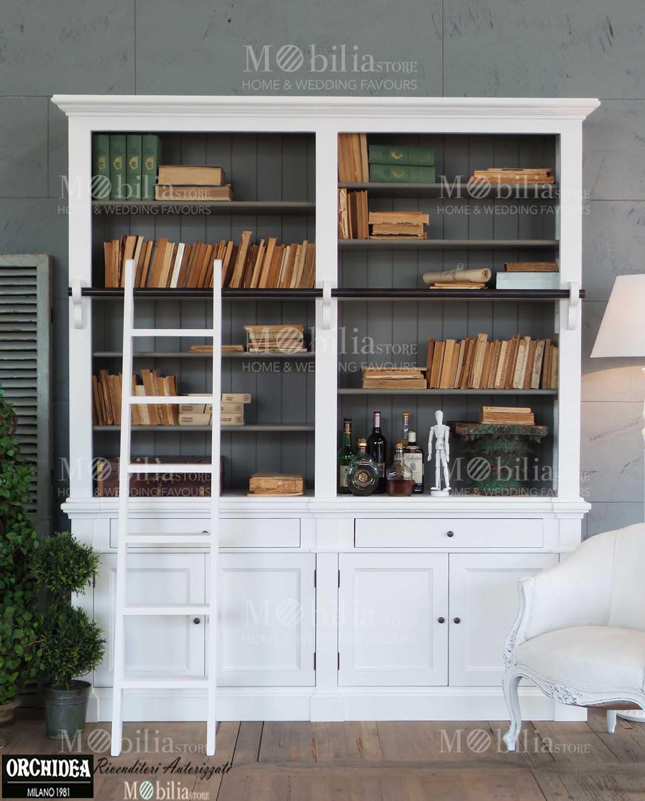 Libreria arredamento legno abete bianco for Arredamento casa bianco