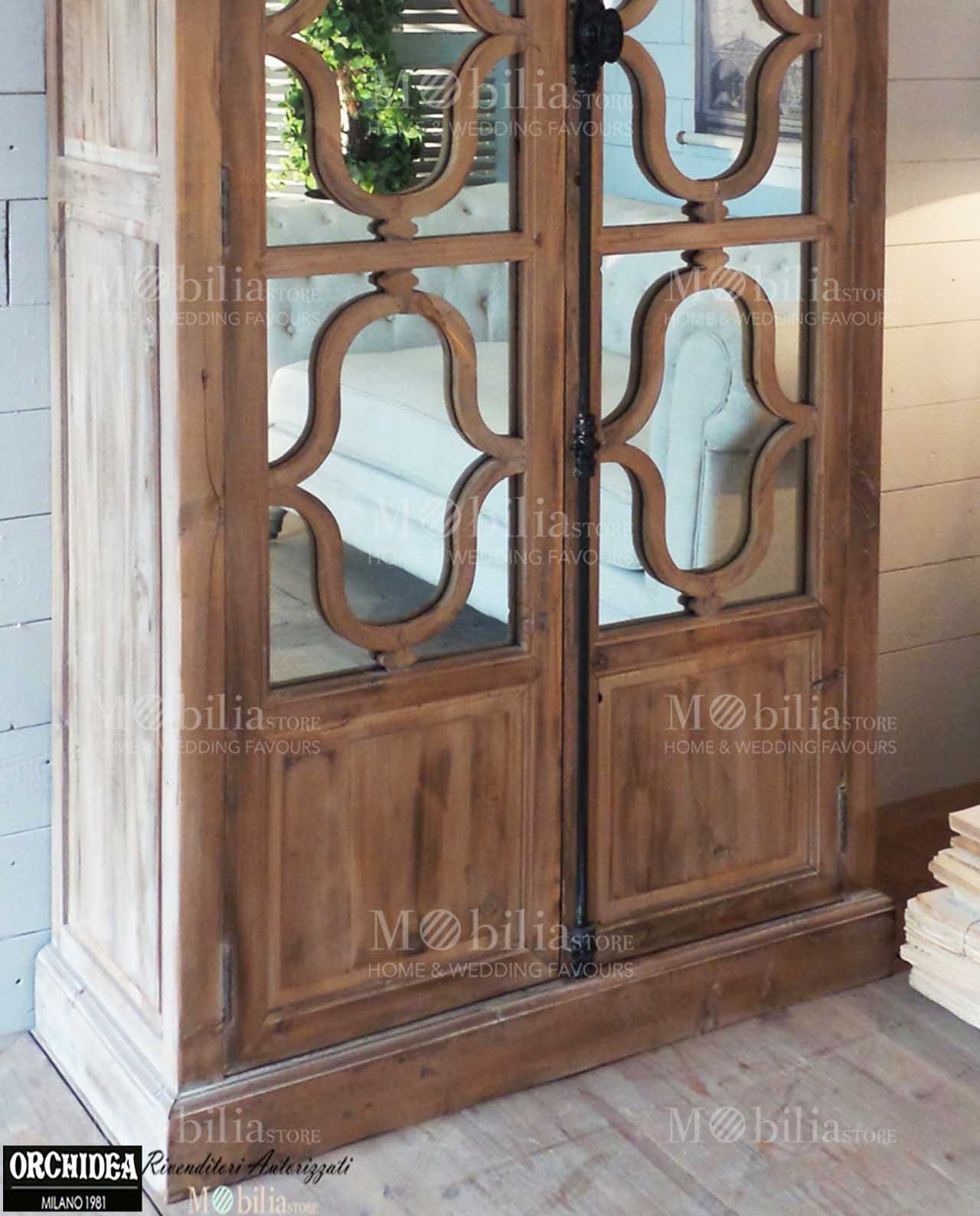 Arredamento soggiorno vetrine 2 ante legno con specchi for Arredamento vetrine