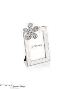 Portafoto piccolo con fiore strass ottaviani
