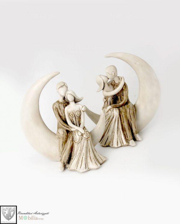 Statuine sposi sulla luna piccole bomboniere set 2 pezzi