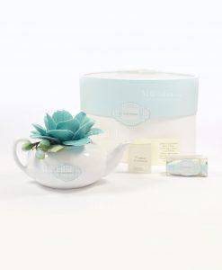 bomboniera lanterna teiera porcellana bianca con fiore tiffany rdm design tubicino e scatola
