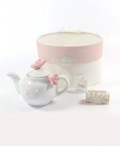 bomboniera teiera brucia essenze porcellana bianca con farfalle rosa rdm design