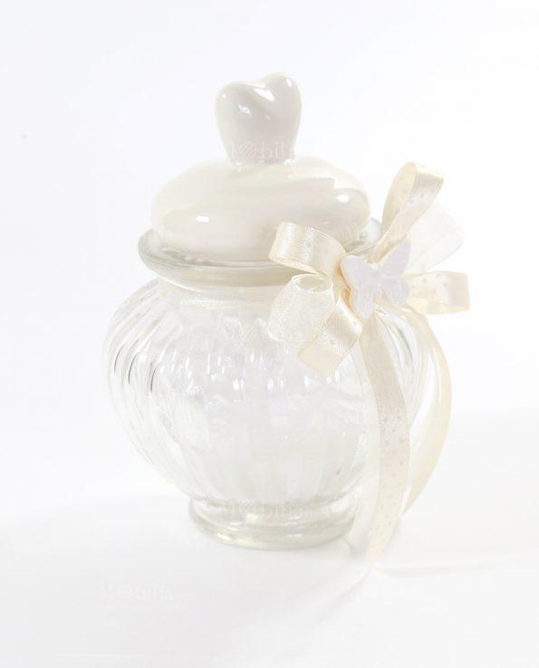 Barattoli vetro bomboniere ermetici con sacchettino for Vasi ermetici vetro