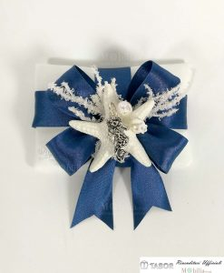 sacchettino nastro blu con ciondolo argento cavalluccio marino