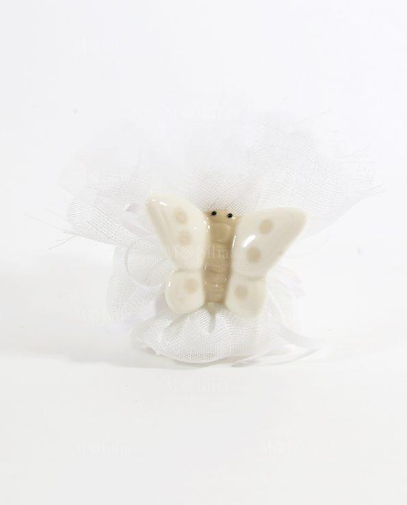 Bomboniere Farfalle con Calamita e Pois Tortora
