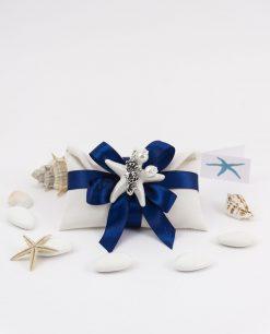 bomboniera sacchetto portaconfetti bianco con fiocco blu ciondolo cavalluccio marico argento tabor e stella