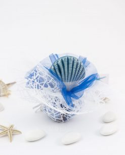 bomboniera tappo bottiglia ceramica linea oceano ad emozioni con sacchetto bianco