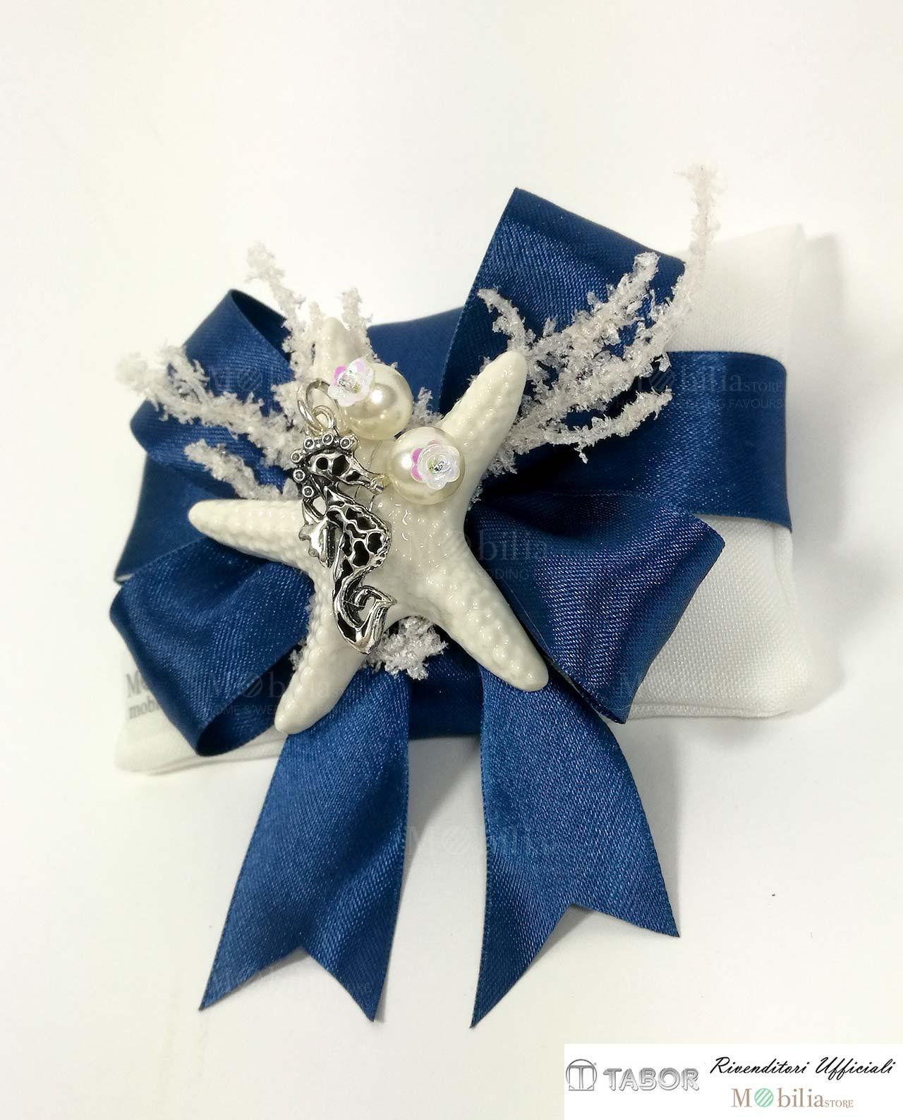Bomboniere Matrimonio Telefono Azzurro : Bomboniere sacchettino con cavalluccio marino in argento e