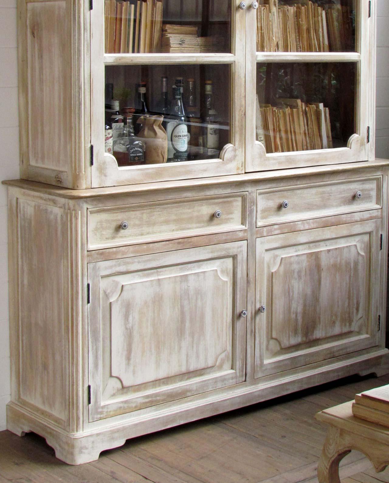 Credenza vetrina shabby chic legno di mango mobilia - Mobili in legno sbiancato ...