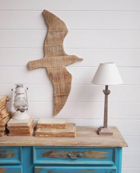 Decorazione da parete pannelli in legno con gabbiano - Pannelli decorativi legno per pareti ...