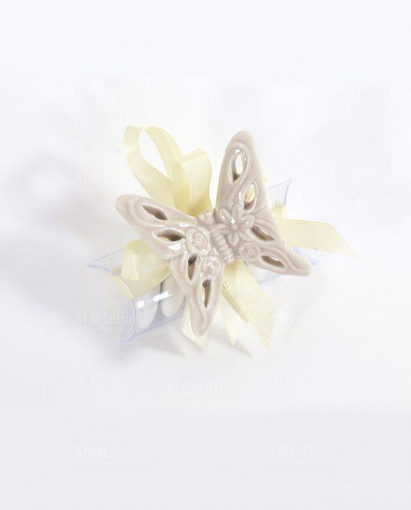 Farfalle Bomboniere Traforate Tortora con Tubicino