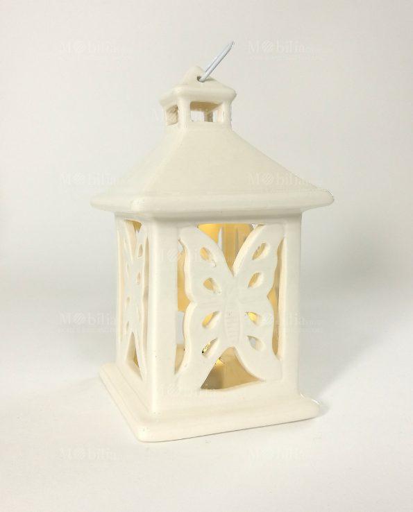 Lanterne Led Ceramica con Farfalle