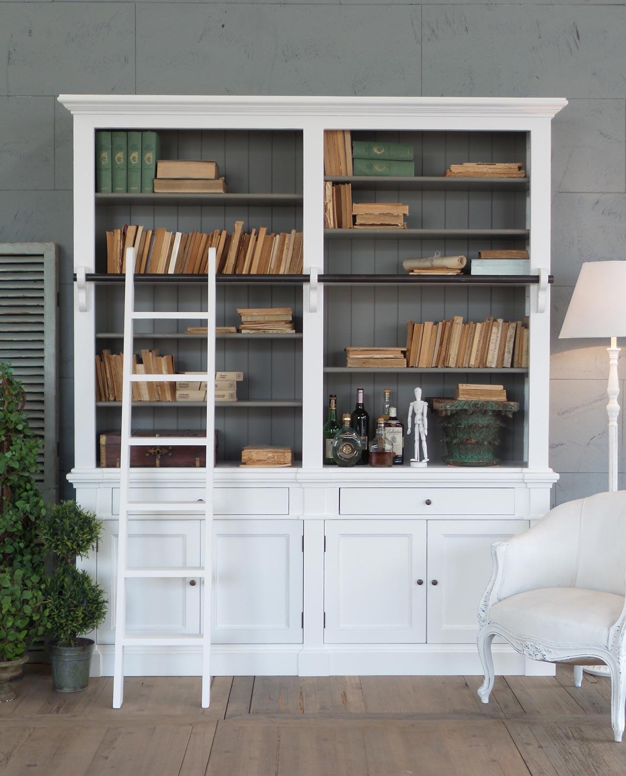 libreria bianca legno d 39 abete con scala a pioli