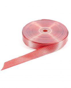 nastro in raso puntinato 2 cm rosso