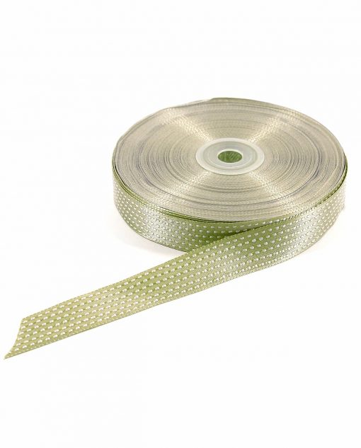 nastro in raso puntinato 2 cm verde
