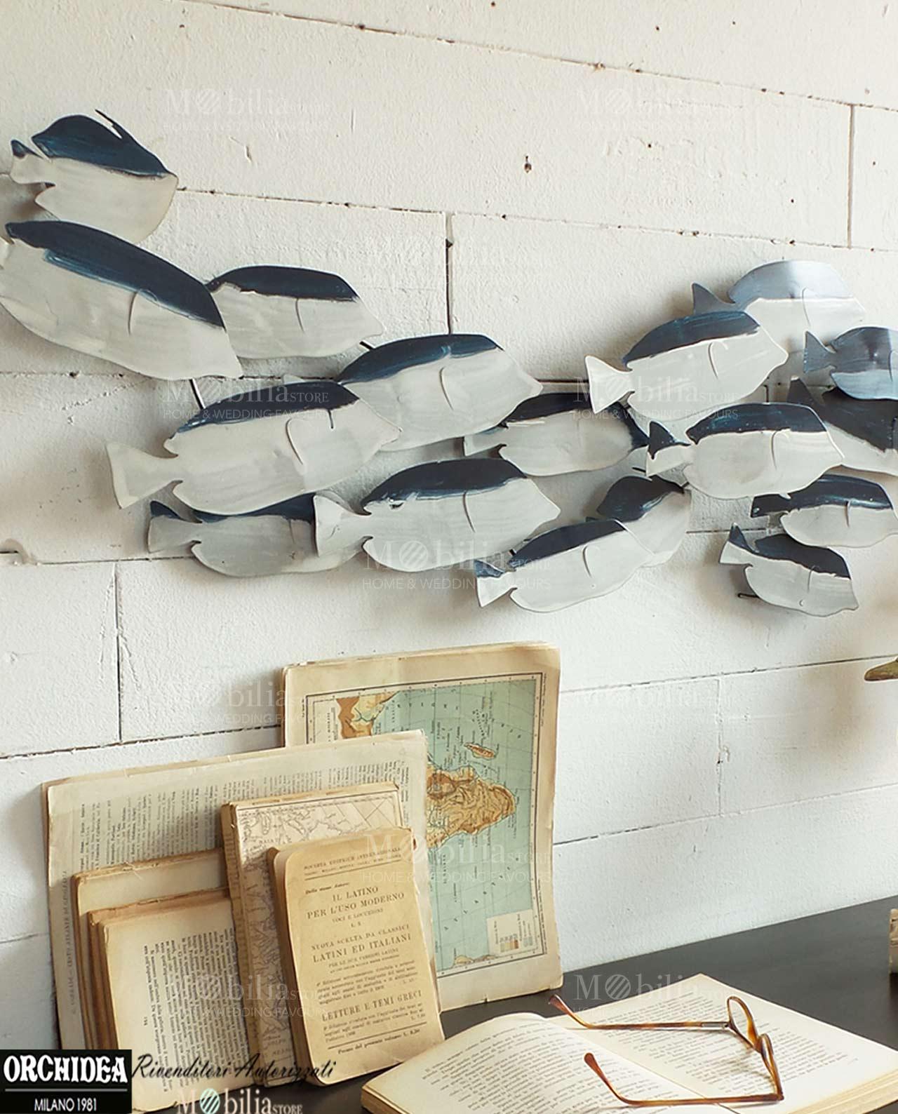 Pannello decorativo con pesci in promozione for Piccoli piani di casa in metallo