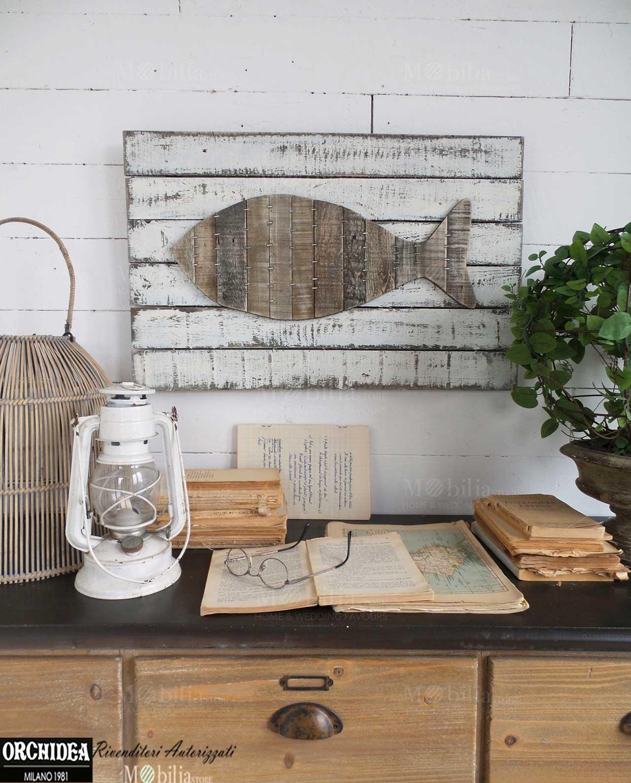 Pannelli decorativi da parete vintage pesce mobilia - Listelli decorativi in legno ...