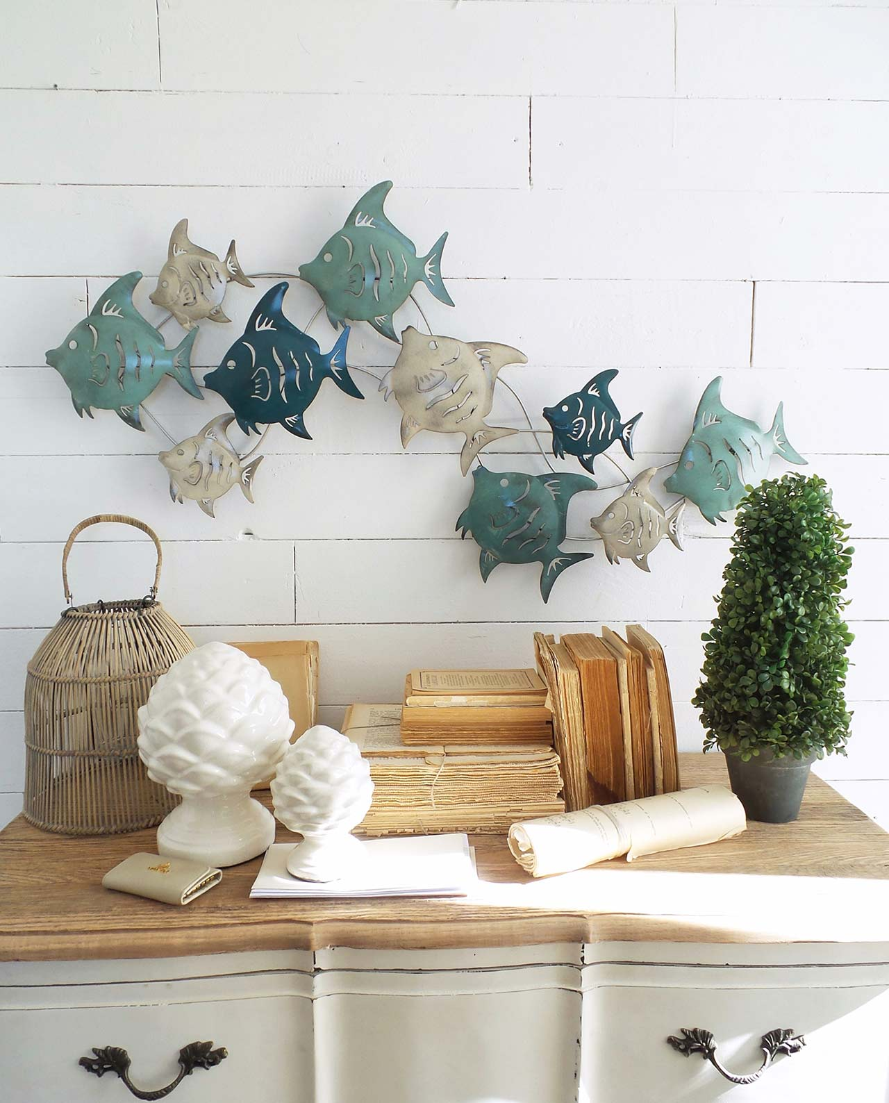 Pannello decorativo in metallo con pesci mobilia store - Pannello decorativo design ...