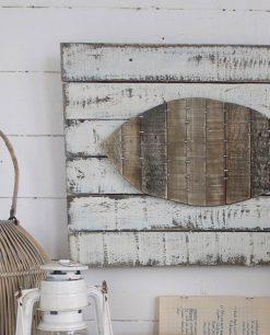 pannello da parete in legno vintage con pesce