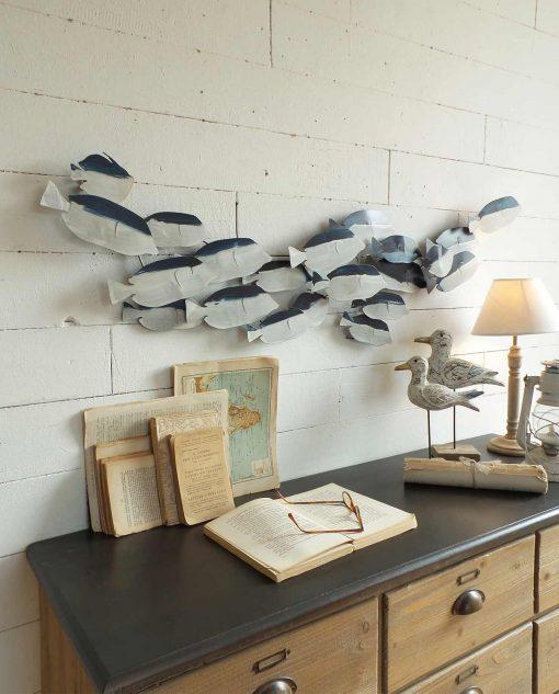 pannello decorativi in metallo con pesci